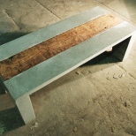 Concrete grey coffee table with reclaimed heart-pine mill timber
