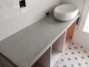Hand trowelled concrete vanity