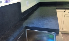 hand trowelled concrete countertop